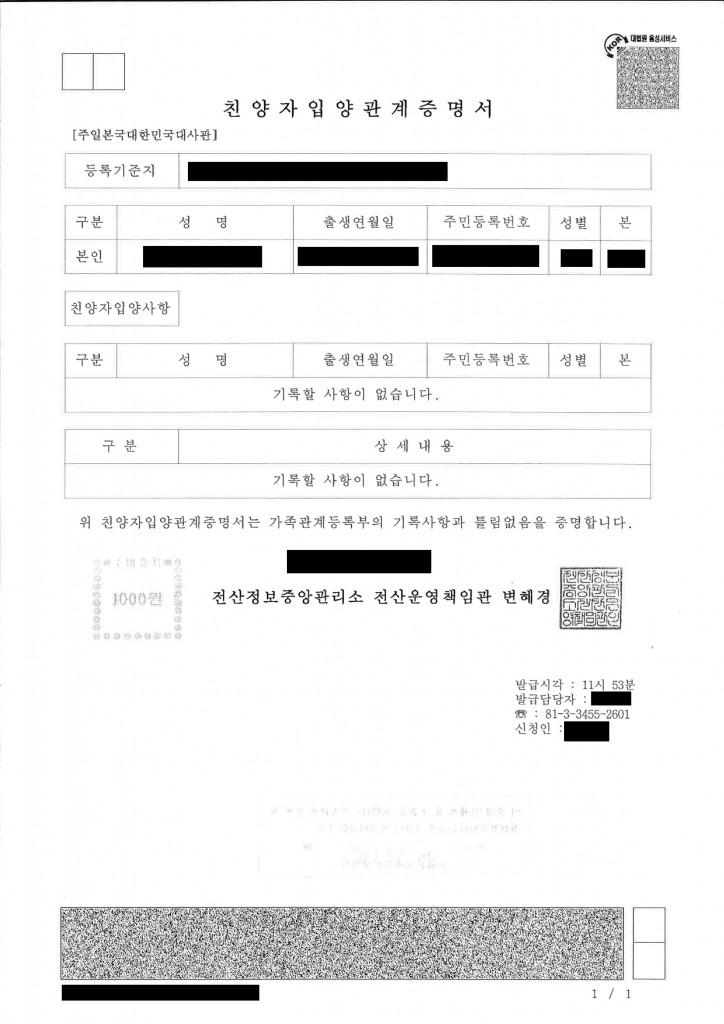 帰化申請用の「身分関係を証する書面」とは―韓国・朝鮮の方 【親養子入養関係証明書 친양가입양관계증명서】