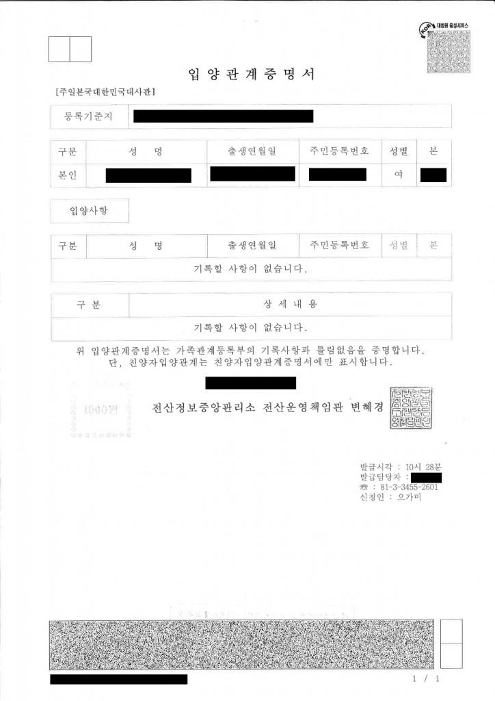 帰化申請用の「身分関係を証する書面」とは―韓国・朝鮮の方 【入養関係証明書 입양관계증명서】